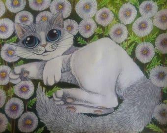 "Mr Meow"" Original Cat painting"