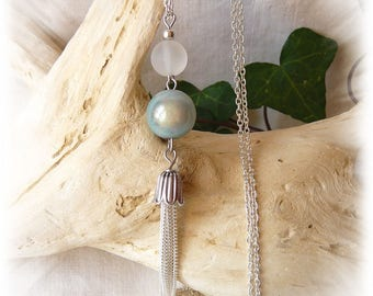 Glass Bead Necklace and powder blue miracle bead