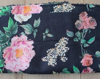 Navy Blue 240x150cm flowers - DESTASH fabric