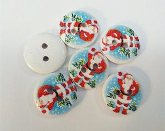 Set of 6 Santa Claus on blue sky background and snowflakes pattern wooden buttons