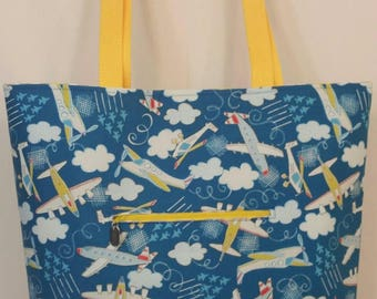 Airplanes and Chevron Tote Bag