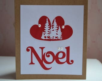 Merry Christmas trees, snow-covered in red hearts card