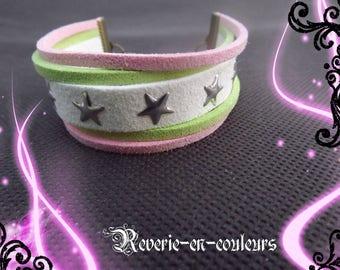 "Suede Cuff Bracelet tricolor ""Spring"""