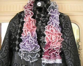 Pink scarf raspberry pink purple gray woolen woman, mothers day gift
