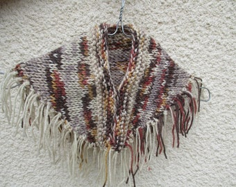 beige Brown 3/12 months baby poncho wool knit with fringe