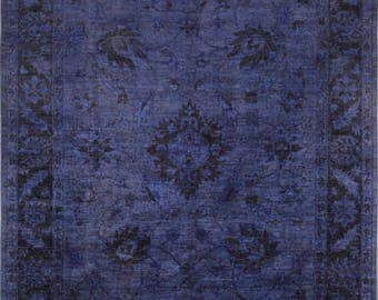 Over Dyed Ziegler Rug, 5'10''x8'11'', Blue/Blue, All wool pile