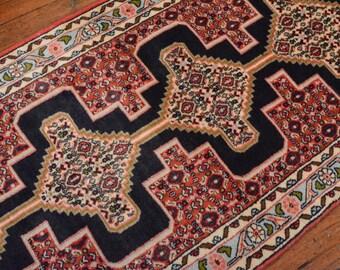 Vintage Persian Bidjar Runner, 2'3''x10', Blue/Light Blue, All wool pile