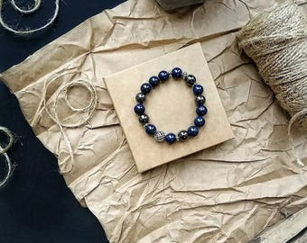 Unisex bracelet with lazurite, hematite stone beads and silver 925.