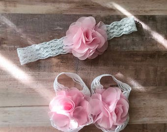 Baby Sandals and Matching Headband, White and Pink Flower Barefoot Sandals and Flower Headband Photo Prop Keepsake Everyday Wear