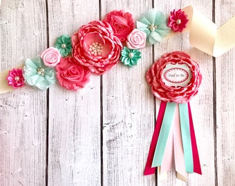 Peach, Green Blue Colorful Flower Sash/ Pregnancy Sash/Maternity Sash/ girl Maternity Sash Pink/ Reveal/Gift/Keepsake/Photo Prop