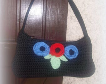 BAG has black hand crocheted and flowers