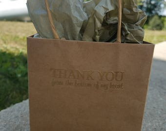 "Embossed small giftbag with handles. ""THANK YOU from the bottom of my heart"" sold as a set of 5."
