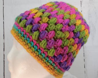 Handmade crochet hat using puff stitch