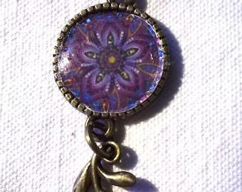 Bronze cabochon bracelet a stunning Purple and blue petal flower