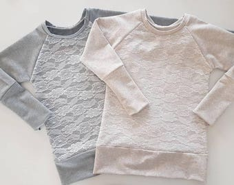 French Terry Grow-with-me Lace Tunic/Sweater / Baby / Toddler / Kids / Baby Clothes / Kids Clothes / Toddler Clothes