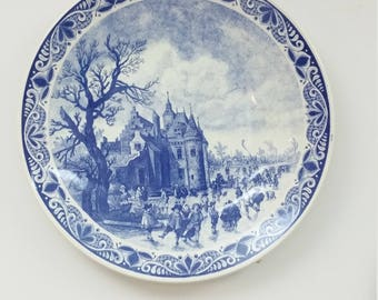 Vintage Dutch Delft Chemkefa Ceramic Wall Hanging Large  Blue & White Plate, Traditional Dutch Scenery 1950s
