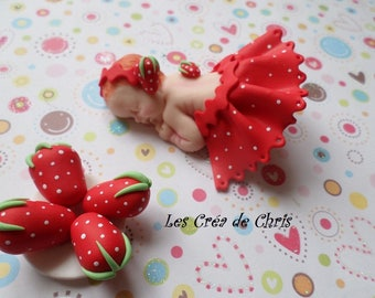 """baby girl-themed polymer clay """"Strawberry""""."""