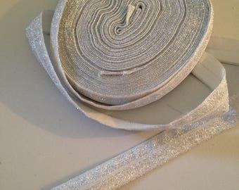 Ribbon silver glitter elastic