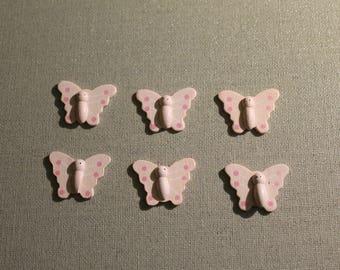 Set of six butterflies wooden pink