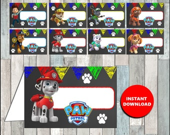 Printable Paw Patrol Food labels instant download, Paw Patrol Chalkboard party Food tent cards, Printable Paw Patrol Tent cards