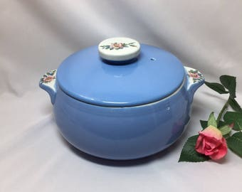 Vintage Hall Covered Casserole Blue with Roses Rose Parade