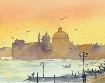 Venetian Sunset step by step watercolour painting project