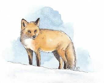5x7 Original Fox in Snow Watercolor