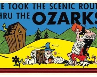 Vintage Style Ozarks Ozark Mountains AR hillbilly  Arkansas  Travel Decal sticker