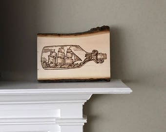 Ship in a bottle Woodburning