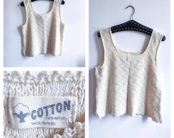Vintage || Crochet || Knitted || Pattern || Tank Top || Camisole || Size L