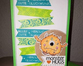 Birthday card - Monster Hugs