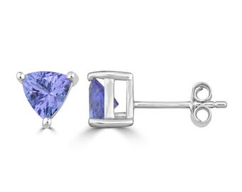 1.0 carat TW Tanzanite Trillion Cut Stud Earrings in Sterling Silver