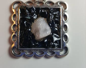 Square Pendant with Quartz center surrounded by Obsidian Chips