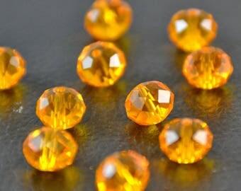 """X 30 large pearls """"plump faceted"""", orange, 1 x 0.7 cm"""