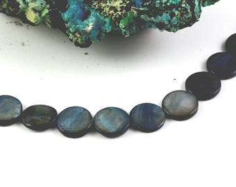 """10 natural Pearly pearls tinted """"quoits"""" 11.5 mm black iridescent"""