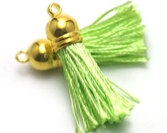 "4 tassels ""silk threads"" 10x45mm, lime green, gold"