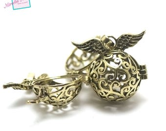 1 pendant/Bell to Pearl 18 mm harmony ball, Golden aged 004