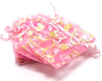 10 small heart/pink 65 x 95 mm organza gift bags