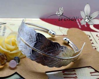 Silver bracelet, feather, adjustable