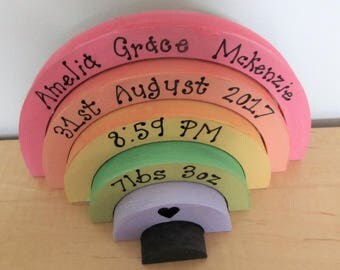 Hand Painted Personalised Baby Bedroom Nursery Gift - Stacking Rainbow with Name Date Time Weight