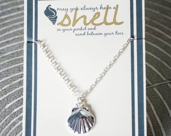 Shell Necklace - Gold Shell - Silver Shell - Simple Shell Necklace - Mermaid Necklace - Under the Sea Necklace