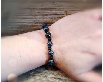 Black and white polymer clay bracelet
