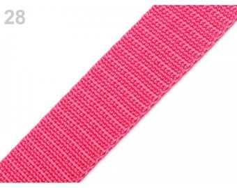 1 meter of 25 mm fuchsia nylon webbing