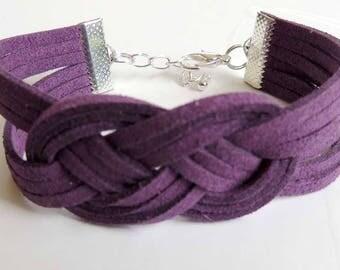 Celtic knot macrame bracelet purple suede suede