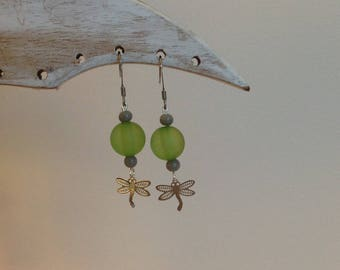Earrings with green glass beads and Dragonfly