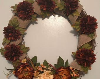 Homemade Burlap Wrapped Grapevine Wreath