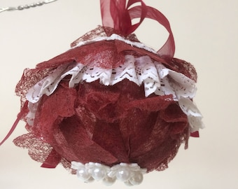 Burgundy and White Christmas ball