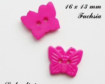 Set of 5 Butterfly buttons-16 x 13 mm 2 holes: Fuchsia