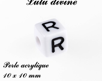 Alphabetical 10 x 10 mm white acrylic bead: letter R (set of 10)