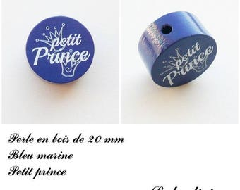 Wooden bead with 20 mm flat bead, little prince, Crown: Navy Blue